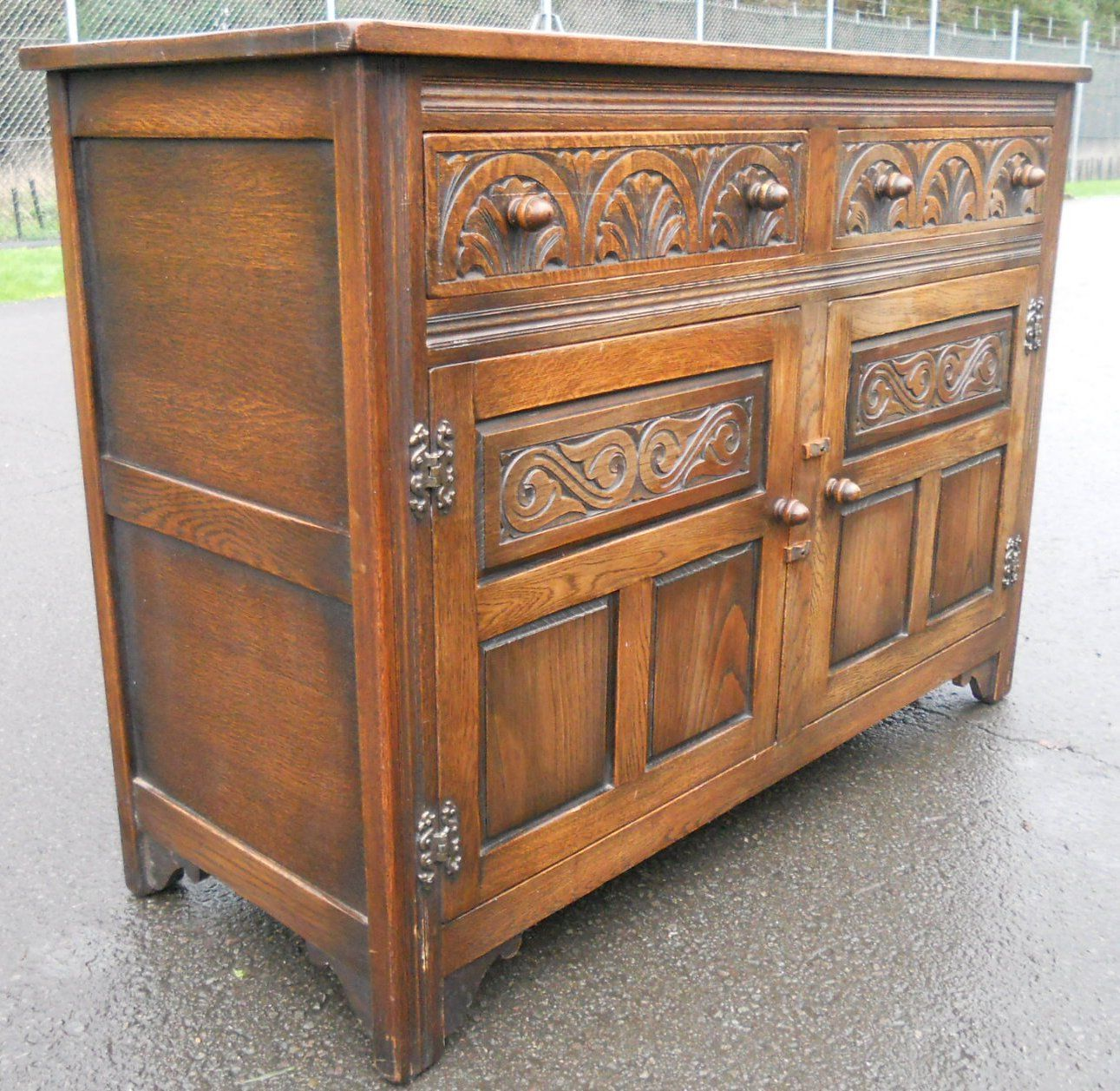 Sold Reproduction Carved Oak Sideboard